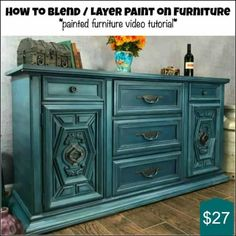 Distressing Furniture With Chalk Paint Teal Furniture Paint How To Blend Layer Paint Furniture Painting Techniques Distressed Chalk Painted Furniture Teal Distressing Table Top Chalk Paint Painted Bedroom Furniture, Chalk Paint Furniture, Refurbished Furniture, Furniture Makeover, Furniture Styles, Furniture Projects, Diy Furniture, Furniture Design, Modern Furniture