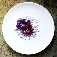Purple Octopus, purple cabbage jelly, amaranth, borage flower, purple cabbage mayonnaise by @lvin1stbite via @chefstalk