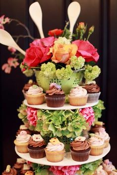 Cupcake tower for bridal shower or a baking themed birthday! Retro Bridal Showers, Bridal Shower Party, Kitchen Shower, Cupcake Display, Couple Shower, Kitchen Themes, Catering Events, Shower Ideas, Wedding Stuff