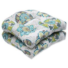 Outdoor Cushions  Pillow Perfect Outdoor Allodala Wicker Seat Cushion, Oasis, Set of 2 Porch Décor <3 This is an Amazon Associate's Pin. Detailed information can be found rom the website by clicking  the VISIT button.