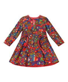 Look what I found on #zulily! Red & Blue Floral Belted Dress - Infant, Toddler & Girls #zulilyfinds