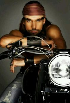 Sexy guy on motorcycle hunk man