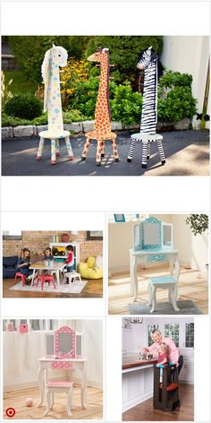 Woodworking Projects Diy, Woodworking Plans, Wood Projects, Diy Furniture Table, Kids Furniture, Wooden Animals, Play Houses, Diy Room Decor, Vanity Stool