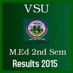 Manabadi VSU M.Ed 2nd Sem May 2015 Exam Results 2015