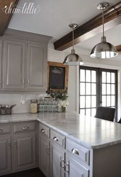 DIY Kitchen Makeover Ideas - Gray Themed Kitchen Makeover - Cheap Projects Projects You Can Make On A Budget - Cabinets, Counter Tops, Paint Tutorials, Islands and Faux Granite. Most Popular Kitchen Design Ideas on 2018 & How to Remodeling Sweet Home, Farmhouse Kitchen Cabinets, Kitchen Cabinetry, Kitchen Backsplash, Backsplash Ideas, Diy Cupboards, Dark Cabinets, Redoing Kitchen Cabinets, Gray Kitchen Countertops
