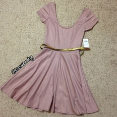 Charlotte Russe Skater Dress NEW never wear , still have tag ! Very cute pink with micro gold sheen , come with a gold belt ! Great for casual party or dinner date ! Only selling , no trade ! Thanks for shopping @toowendy !  Charlotte Russe Dresses Midi