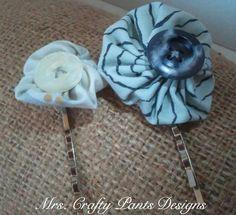 Vintage Grey Yoyo Fabric Flower Hair Pins $5.50