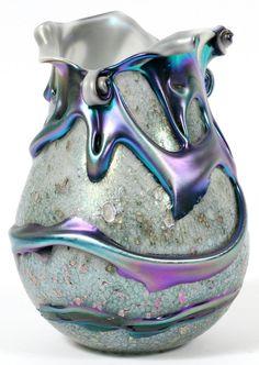 CHARLES LOTTON STUDIO ART-GLASS 'CYPRIOT LAVA' VASE ♥༺❤༻♥