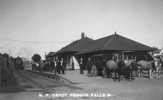 Third Northern Pacific depot in Fergus Falls, Minnesota. It replaced two earlier depots that burned and was destroyed by a tornado on June 22, 1919. The deadly F5 tornado leveled a large part of downtown Fergus Falls, killed 57 people and injured over 200.  Great Northern's Oriental Limited train was reportedly sucked right off the tracks, derailing all but two of its cars. The 1919 depot that replaced this one is still standing. Click for a video  http://www.youtube.com/watch?v=BAMxLrjBjMA
