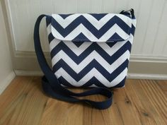 Navy chevron crossbody bag hip bag everyday bag by BirdOnAWireBags