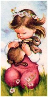 "Prayers for Children (Deluxe), Wilkin, Bunny from ""Prayers for Children"" Deluxe Edition, Golden Books, 1952 illustration by Eloise Wilkin Little girl with bunny Vintage Artwork, Vintage Children's Books, Vintage Postcards, Vintage Pictures, Cute Pictures, Prayers For Children, Children's Book Illustration, Book Illustrations, Little Golden Books"