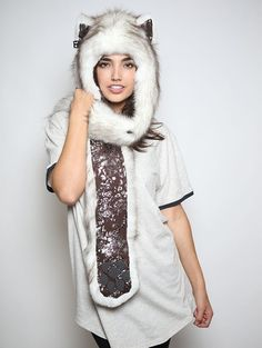 Brown Husky Snakeskin faux fur animal inspired hood (100% Vegan). Unisex (one size fits most).