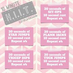 Do it yourself and Challenge a friend!   A little more about this workout ... For those who aren't familiar, HIIT means High-Intensity Interval Training. It's where you push yourself as hard as you can for a burst and then take it easy for a burst. This workout is done Tabata HIIT style (20 seconds of intensity then 10 seconds rest).(PS: Remember to always warm up for a few minutes before workout out and to always stretch for a few minutes after!)