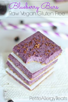 Blueberry Bars (Raw Vegan Gluten Free)-PetiteAllergyTreats Naturally beautiful blueberry oat bars. #Vegan, #glutenfree, #raw, #breakfast