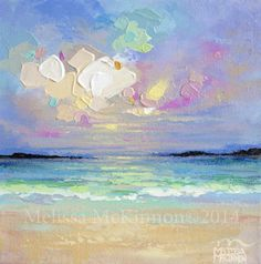 Colourful Abstract Beach, Ocean, Sky Paintings on Canvas by Canadian Landscape Artist Melissa McKinnon  BRIGHT and COLOURFUL PAINTINGS of big skies, mountain ranges, aspen and birch trees, and ocean beaches.   Plein Air painting of Viña del Mar, Chile, South America
