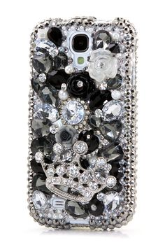Silver Diamond Crown Black and White bling case design - Cute Samsung galaxy s4 cases bling disney phone cover accessories for girls. http://luxaddiction.com/collections/3d-designs/products/silver-diamond-crown-black-and-white-design-style-400