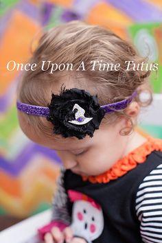 Purple & Black Witch Hat Headband  Little by OnceUponATimeTuTus