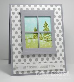 I had this polka dotted piece of paper laying around and the distressed piece of cardstock so I thought I'd throw a little something simple together using a new SU holiday set called Happy Scenes and the Hearth and Home Framelits. Let It Snow, Let It Be, Trees To Plant, Plant Leaves, Window Cards, Hearth And Home, Stamping Up, Fences, Oceans