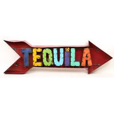 My Amigos Imports Tequila Arrow Recycled Metal Sign Wall Decor Mexican Restaurant Decor, Mexican Kitchen Decor, Mexican Home Decor, Restaurant Bar, Half Wall Decor, Compass Wall Decor, Metal Wall Decor, Mexican Patio, Mexican Bar