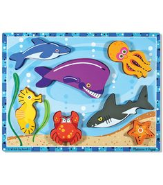 """My 1st Chunky Puzzle 6 Pieces 12""""X9""""-Sea Creatures"""