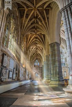 A ray of light ~ Exeter Cathedral, Devon, UK, built in 1133 Architecture Classique, Architecture Antique, Cathedral Architecture, Sacred Architecture, Beautiful Architecture, Beautiful Buildings, Beautiful Places, Exeter Cathedral, Cathedral Church
