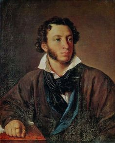 """Aleksandr Sergeyevich Pushkin - b. 5/26/1799 in Moscow, Russian Empire - Founder of Modern Russian Literature. A member of the Decembrists (high born Russians who wanted to honor Russian peasants) was in exile for 6 years due to his radical political activism. Wrote Eugene Onegin, an """"encyclopedia of Russian literature"""". Fatally wounded in a duel with his brother in law, who had tried to seduce his wife, Natalia Pushkina. Died, just two days after duel, 1/29/1837 in St. Petersburg."""