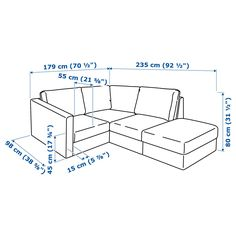 IKEA - VIMLE Sectional, 3-seat corner with open end, Orrsta Ikea Vimle, Ikea Sofa, Extra Storage Space, Storage Spaces, Arranging Bedroom Furniture, Cosy Sofa, Leather Footstool, Angles, Storage Footstool
