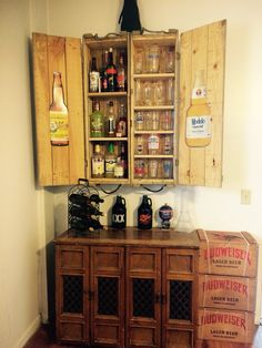 Old ammunition boxes converted into a cabinet