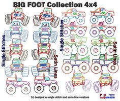 Big Foot Machine Embroidery Designs Collection 4x4  #trucks #children #embroidery #MachineEmbroidery #BigFoot #cars Embroidery Software, Machine Embroidery Designs, Star Stitch, 4x4 Trucks, Janome, Bigfoot, One Design, Happy Mothers Day, Cars