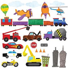 Car Wall Stickers Train Wall Decals Airplane Wall Decals by My Wonderful Walls Peel Stick Construction Stickers for Kids and Nursery Wall Art >>> Check out this great product. City Wall Stickers, Wall Decals, Wall Décor, Transportation Theme, Toot, Nursery Wall Art, Boy Room, Monster Trucks, Hand Painted