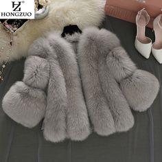 [Hongzuo]ブランドの短い毛皮のコート冬のファッション女性フェイクキツネの毛皮コート毛皮のような女性フェイクファーのジャケットプラスサイズ毛皮のコートPC237