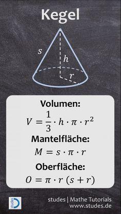 Kegel: Formeln für Volumen, Mantelfläche & Oberfläche | studes