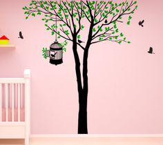 Wall Decor Art Vinyl Removable Decal Sticker Nursery Large Tree W Flying Birds 416