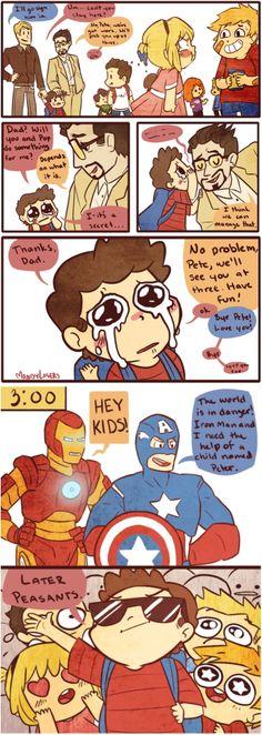 Avengers fanart by Mandy Lasers – Iron Man & Captain America picking up their ki… - MARVEL Marvel Comics, Marvel Avengers, Funny Marvel Memes, Dc Memes, Marvel Jokes, Avengers Memes, Marvel Heroes, Captain Marvel, Bucky
