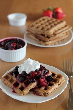 Super Power Waffles--full of oats, nuts, flax, and everything you need to start your day right.