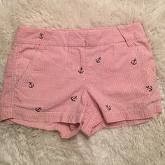 J. Crew - city fit, pin stripe/anchor shorts Adorable pink and white pin stripes, featuring navy blue embroidered anchors. Fabulous condition. Perfect for any summer wardrobe!! J. Crew Shorts