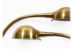 Brass Gooseneck Lamps, Pair
