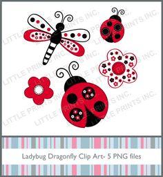 Red Ladybug Dragonfly Clip Art Graphics por LittlePrintsClipart