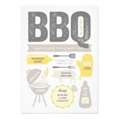 BBQ Barbecue Engagement Party Ring Summer Cookout Invitation by fatfatin
