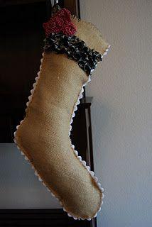 Burlap stocking with white rick rack...love!