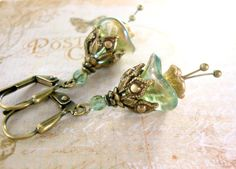 Ethereal Teal Flower Earrings Vintage Style Czech by ArdentHearts