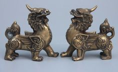 Chinese Fengshui Copper Bronze Wing Kylin Foo Dog Lion Unicorn Beast Statue Pair