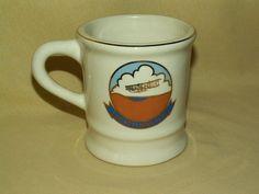 USS KITTY HAWK MUG CV-63 COFFEE TEA CUP WRIGHT BROS PLANE BROWN BLUE NAVY SHIP