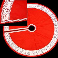 The Sandor Collection Great Plain Tree Skirt in White and Red - CTS-01