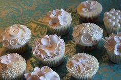 Ivory Vintage Wedding cupcakes from Victoria's Kitchen in London Vintage Wedding Cupcakes, Vintage Cupcake, Vintage Cakes, Wedding Cakes, Cupcakes Design, Beautiful Cupcakes, Cute Cupcakes, Elegant Cupcakes, Flower Cupcakes