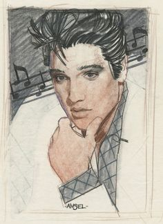 Original sketch for the April 9, 1983 TV Guide Cover Art, illustration by Richard Amsel