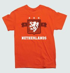 It's football time again! FIFA World Cup 2014 takes place soon. If you are rooting for Netherlands a.k.a. KNVB or the Oranje then this original fan t-shirt is bound to please you like Punch Show the world where your Soccer and Football Allegiances lie with this awesome Netherlands Dutch Soccer fan World Cup 2014 T-Shirt. THESE ARE ALSO OFFERED IN WOMENS- LADIES- GET YOUR FANWEAR HERE! Professionally screenprinted for long-lasting wear and quality.