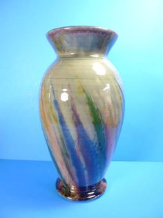 """BEAUTIFUL STODIO HANDCRAFTED LARGE CERAMIC VASE SIGNED BY MAKER MARSHALL 14""""TALL"""