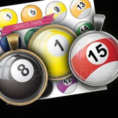 Billiards balls bottle cap images earrings round by GraphicsPaper