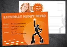 Einladung+zum+40.+Geburtstag:+Saturday+Night+Fever+von+Individuelle+Einladung+auf+DaWanda.com